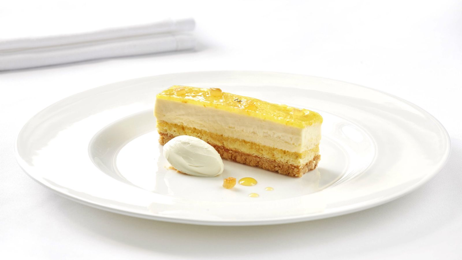 "Le cheese cake ""agrumes passion"" dessert by Arnaud Larher for Hotel Grande Bretagne Athens"