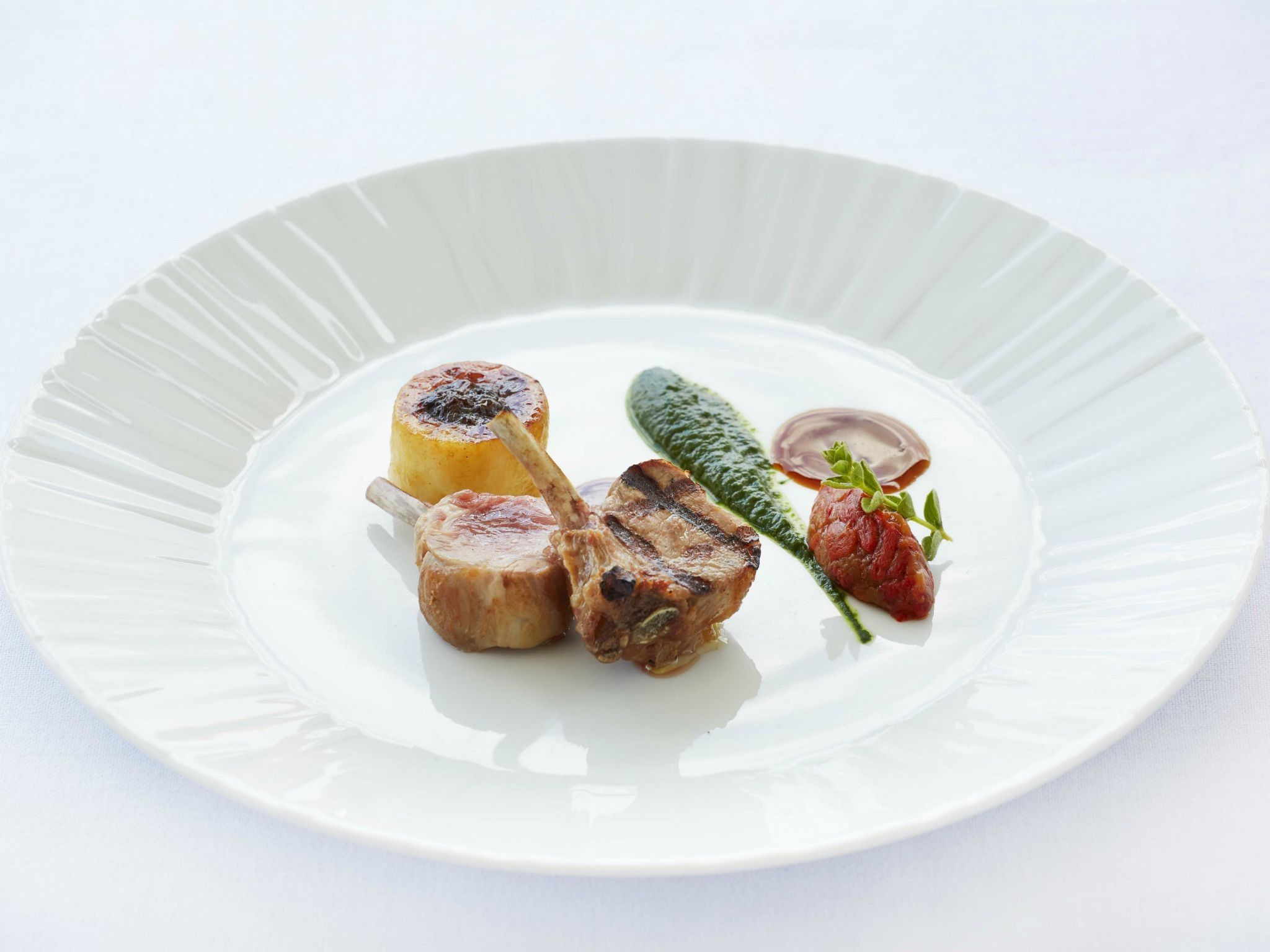 "=""Lamb-cutlets-stuffed-potato-parsley-sauce-and-smoked-Florinis-pepper-GB-Roof-Garden-Restaurant""/"