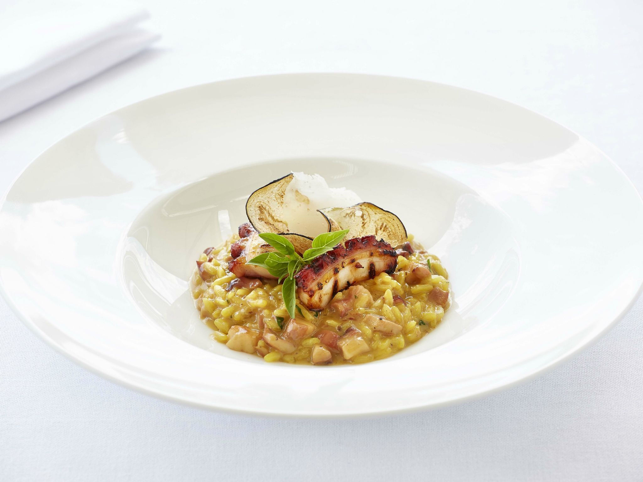 "=""Risotto-with-octopus-saffron-roasted-eggplant-and-aged-balsamic-vinegar-GB-Roof-Garden-Restaurant""/"