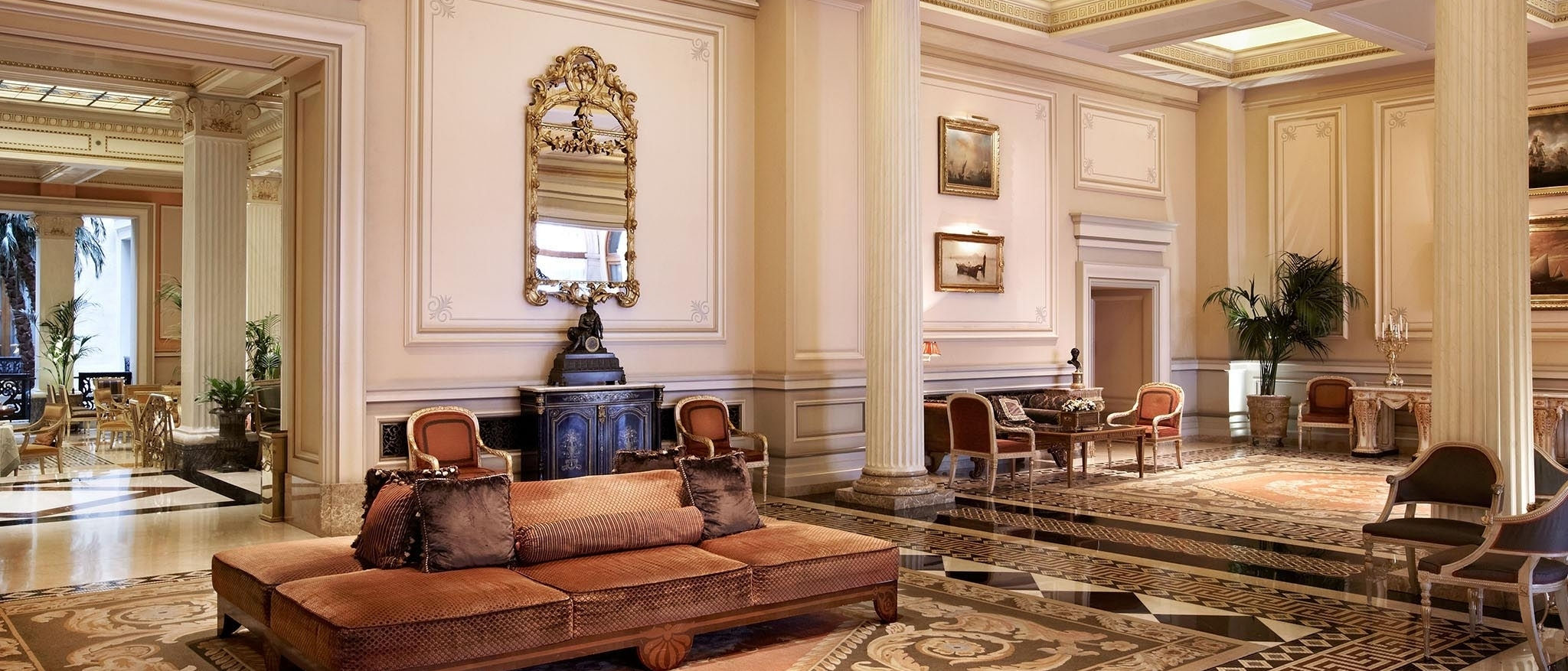 The majestic lobby of Hotel Grande Bretagne located in the heart of Athens